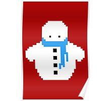 Cute Christmas Pixel Snowman Poster