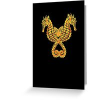 Sea Horses Tribal Tattoo Greeting Card