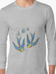 Tattoo Style Swallow  Long Sleeve T-Shirt