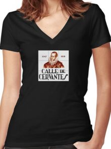Calle de Cervantes, Madrid Street Sign, Spain Women's Fitted V-Neck T-Shirt