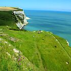 White Cliffs of Dover - Cliffs, Sea, & Ferry Boats by rsangsterkelly