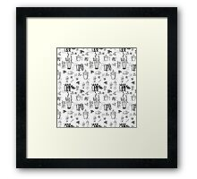 ::Potted Plants- White BG- pattern:: Framed Print
