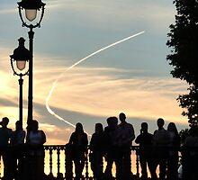 Watchers on the Bridge - Paris by Keith Richardson