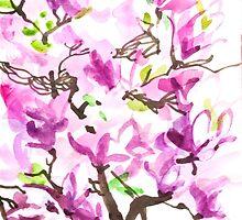 Large Magnolia Tree Blossoming by irinikostyshina