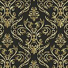 Black Gold And Diamonds Bling Vintage Floral Swirls Pattern by artonwear