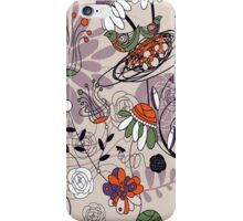 Abstract Cute Retro Flowers And Birds Design iPhone Case/Skin