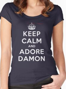 Keep Calm and Adore Damon From Vampire Diaries DS Women's Fitted Scoop T-Shirt