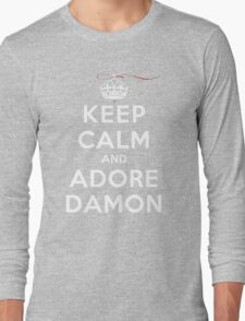 Keep Calm and Adore Damon From Vampire Diaries DS Long Sleeve T-Shirt