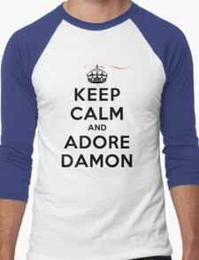 Keep Calm and Adore Damon From Vampire Diaries LS Men's Baseball ¾ T-Shirt