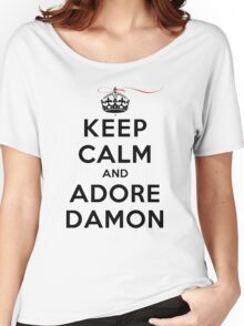 Keep Calm and Adore Damon From Vampire Diaries LS Women's Relaxed Fit T-Shirt