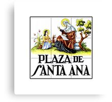 Plaza de Santa Ana, Madrid Street Sign, Spain Canvas Print