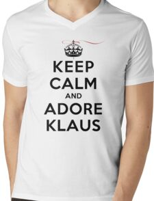 Keep Calm and Adore Klaus From Vampire Diaries LS Mens V-Neck T-Shirt