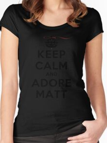 Keep Calm and Adore Matt From Vampire Diaries LS Women's Fitted Scoop T-Shirt