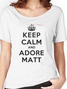 Keep Calm and Adore Matt From Vampire Diaries LS Women's Relaxed Fit T-Shirt