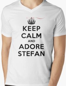 Keep Calm and Adore Stefan From Vampire Diaries LS Mens V-Neck T-Shirt
