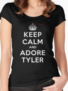 Keep Calm and Adore Tyler From Vampire Diaries DS Women's Fitted Scoop T-Shirt