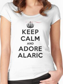 Keep Calm and Adore Alaric From Vampire Diaries LS Women's Fitted Scoop T-Shirt