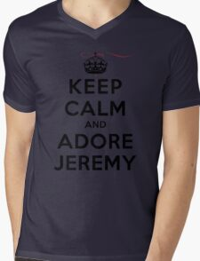 Keep Calm and Adore Jeremy From Vampire Diaries LS Mens V-Neck T-Shirt
