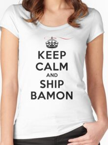 Keep Calm and SHIP Bamon (Vampire Diaries) LS Women's Fitted Scoop T-Shirt