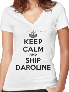 Keep Calm and SHIP Daroline (Vampire Diaries) LS Women's Fitted V-Neck T-Shirt