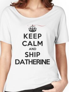 Keep Calm and SHIP Datherine (Vampire Diaries) LS Women's Relaxed Fit T-Shirt
