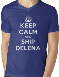Keep Calm and SHIP Delena (Vampire Diaries) DS Mens V-Neck T-Shirt