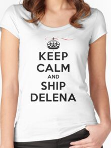 Keep Calm and SHIP Delena (Vampire Diaries) LS Women's Fitted Scoop T-Shirt