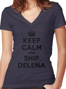 Keep Calm and SHIP Delena (Vampire Diaries) LS Women's Fitted V-Neck T-Shirt
