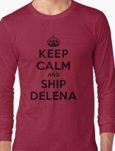 Keep Calm and SHIP Delena (Vampire Diaries) LS Long Sleeve T-Shirt