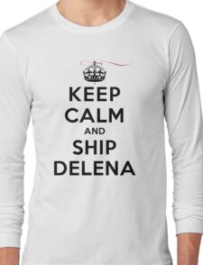 Keep Calm and SHIP Delena (Vampire Diaries) LS Long Sleeve T-Shirt