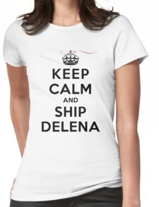 Keep Calm and SHIP Delena (Vampire Diaries) LS Womens Fitted T-Shirt