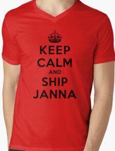 Keep Calm and SHIP Janna (Vampire Diaries) LS Mens V-Neck T-Shirt