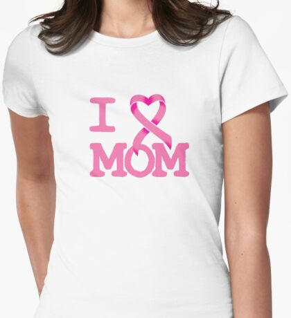 I Heart MOM - Breast Cancer Awareness Womens Fitted T-Shirt