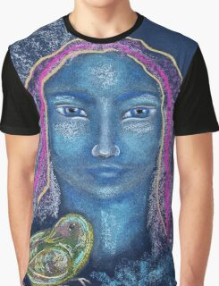 Light Portrait-Blue Bird Girl Graphic T-Shirt