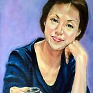 woman in blue dress 5 by Hidemi Tada