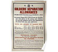 Soldiers separation allowances Increased rates from March 1 1915 Poster