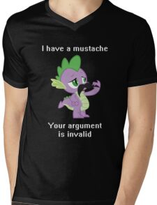 I have a mustache, your argument is invalid. Mens V-Neck T-Shirt