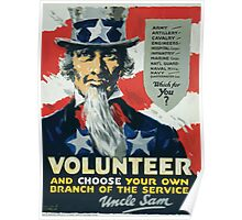 Volunteer and choose your own branch of the service  Uncle Sam 002 Poster
