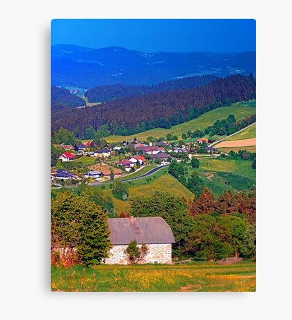A farm, a valley and lots of panorama Canvas Print