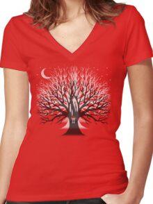 MOONLIGHT OWL Women's Fitted V-Neck T-Shirt