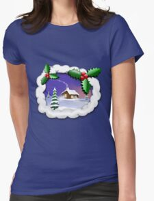 Snowy Christmas Womens Fitted T-Shirt
