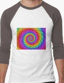 Psychedelic Rainbow Spiral  Men's Baseball ¾ T-Shirt