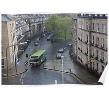 Bus moving on a wet path in Edinburgh Poster