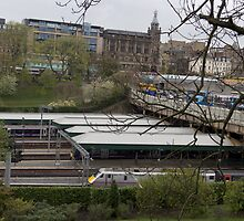 Train station and buses in Edinburgh by ashishagarwal74