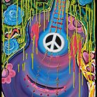 Peace Guitar - Hippie Abstract Art by Laura Barbosa