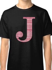 Letter J Red Watercolor Stripes Initial Monogram Classic T-Shirt