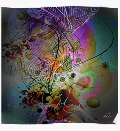 Digital Abstract Art-Dynamic Shapes And Lines Poster
