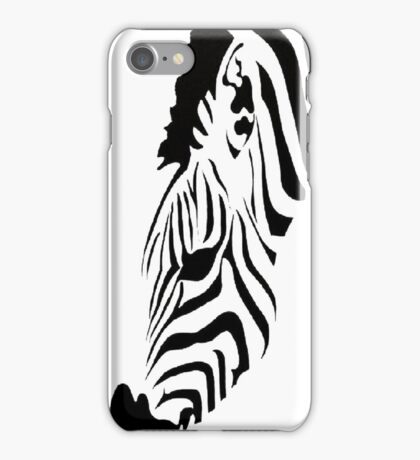 Grazing Zebra Vector Isolated On White iPhone Case/Skin