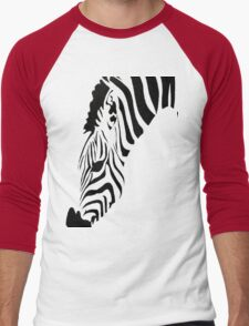 Grazing Zebra Vector Isolated On White Men's Baseball ¾ T-Shirt