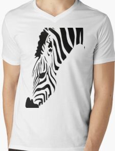 Grazing Zebra Vector Isolated On White Mens V-Neck T-Shirt
